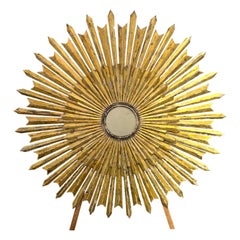 Decorative Italian Large Scale Carved and Patinated Wood Sunburst