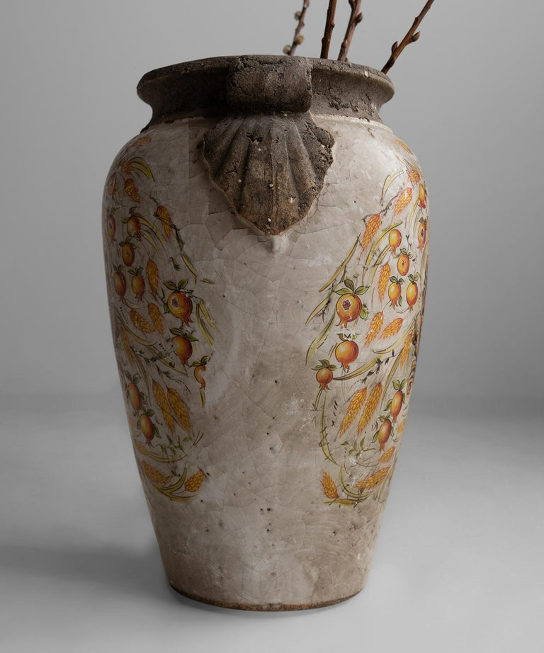 Hand-Painted Decorative Italian Urn For Sale