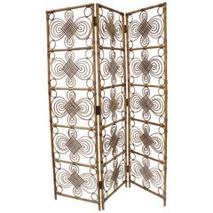 Decorative Italian Vintage Bamboo/Wicker Room Divider, 1970s