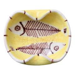 Decorative Italian Yellow Ceramic Vide-Poche by Guido Gambone, circa 1950s
