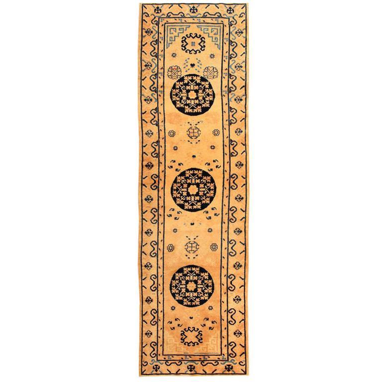 Decorative Ivory and Blue Antique Khotan Runner Rug