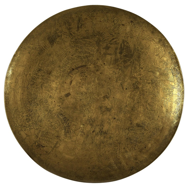 Decorative Japanese Brass Plate For Sale