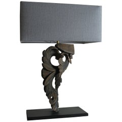 Decorative Lamp, Wooden Ornament Lamp, Lamp with Linen Shade
