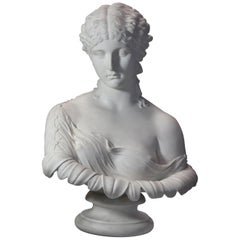 Decorative Large Mid-19th Century Parian Bust of 'Clytie', Stamped 'Copeland'
