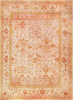 Decorative Large Room Size Antique Turkish Oushak Rug