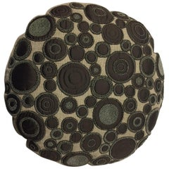 Decorative Linen Cushion Round Shaped with Brown Silk Appliqué Work and Beading