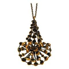 Decorative Longer Bronze Necklace by Hannu Ikonen, Finland, 1970s