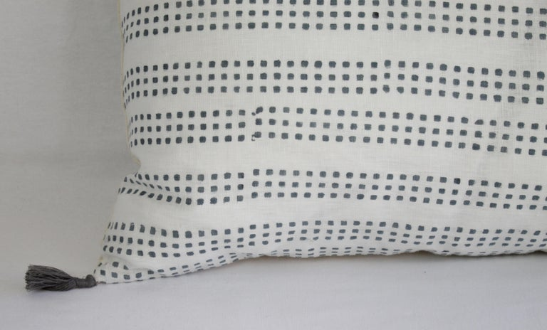 Contemporary Decorative Lumbar Pillow with Fringe For Sale