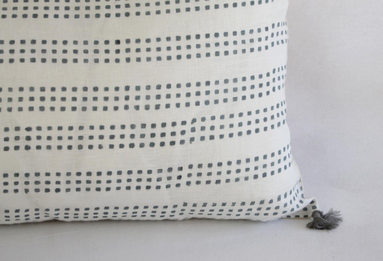 Cotton Decorative Lumbar Pillow with Fringe For Sale