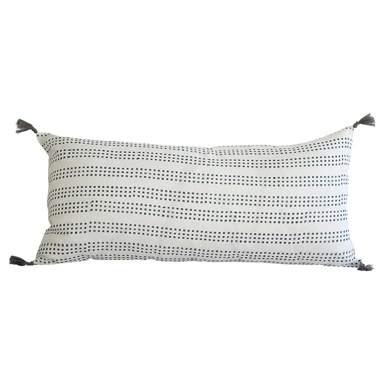 Decorative Lumbar Pillow with Fringe For Sale