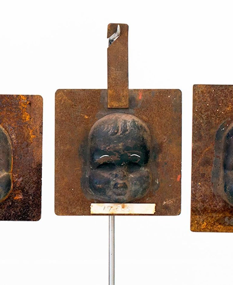 American Decorative Metal Doll Head Molds Objet de Virtu on Custom Stands For Sale