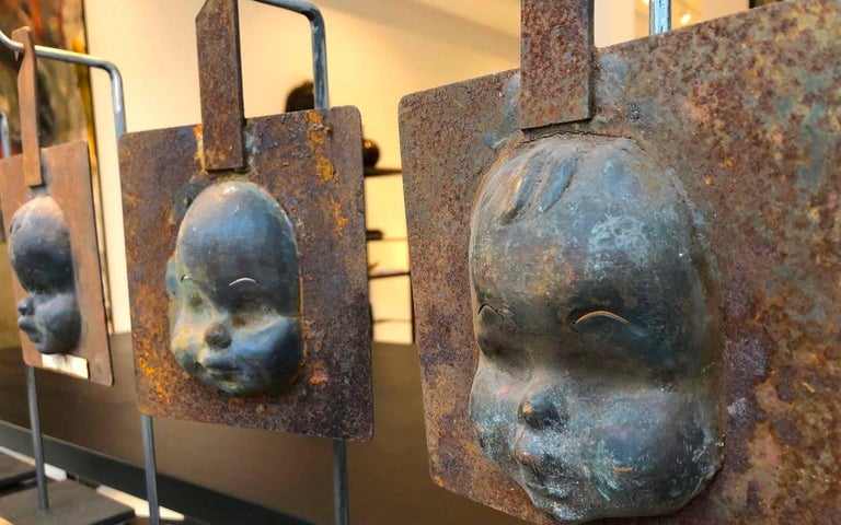 Decorative Metal Doll Head Molds Objet de Virtu on Custom Stands In New Condition For Sale In Chicago, IL