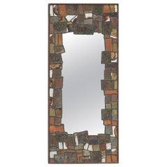 Dekorative Metall Patchwork Spiegel aus den 1960er-Jahren