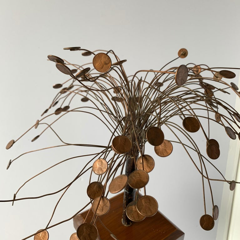 Decorative Midcentury Table Sculpture of 1970s Pennies Flower Stand For Sale 3