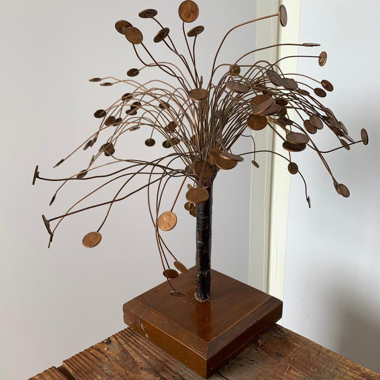 Decorative Midcentury Table Sculpture of 1970s Pennies Flower Stand For Sale 6