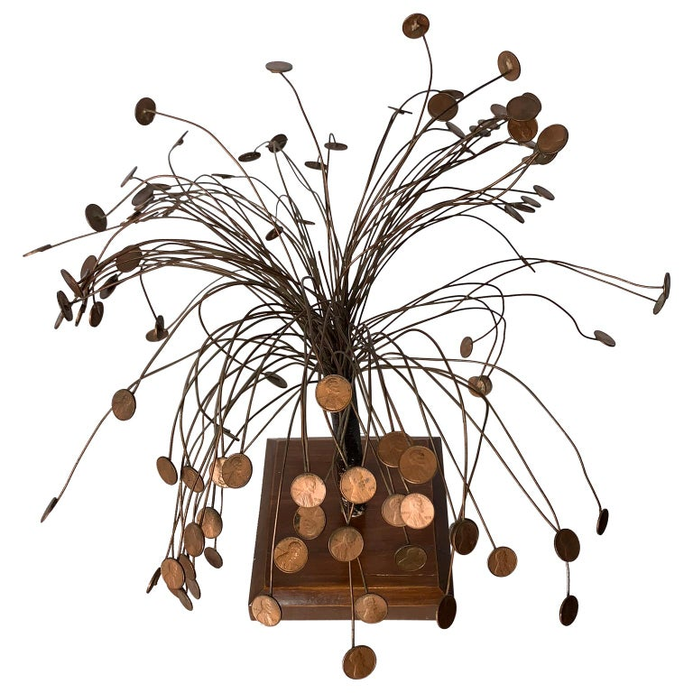 Decorative mid-century table sculpture of 1970s pennies flower stand.