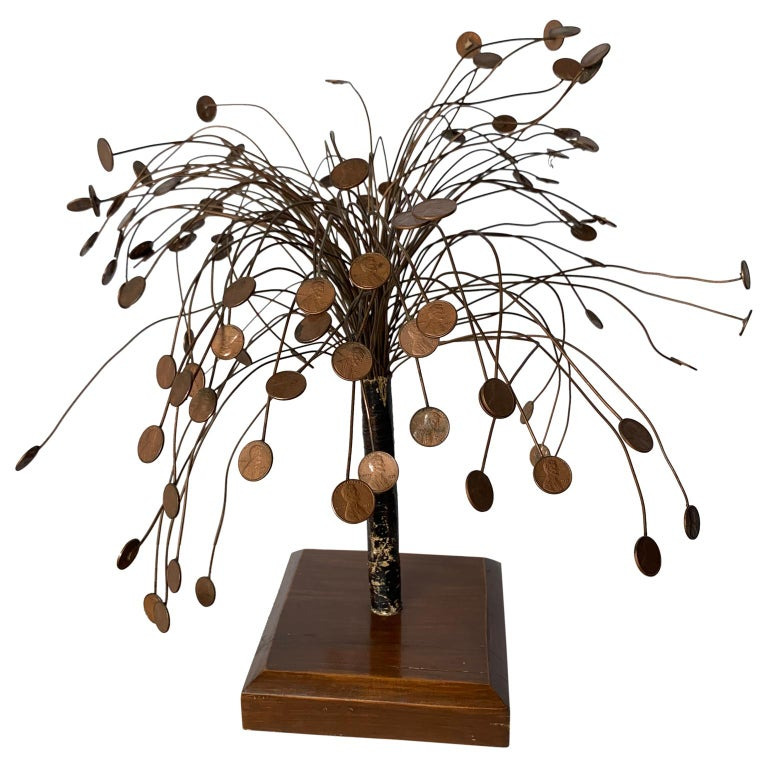 American Decorative Midcentury Table Sculpture of 1970s Pennies Flower Stand For Sale