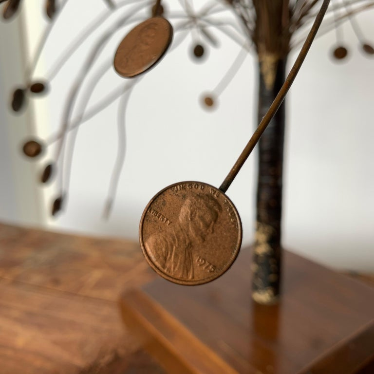 Hand-Crafted Decorative Midcentury Table Sculpture of 1970s Pennies Flower Stand For Sale