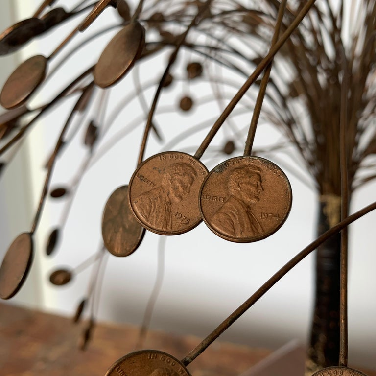 Decorative Midcentury Table Sculpture of 1970s Pennies Flower Stand In Good Condition For Sale In Haddonfield, NJ