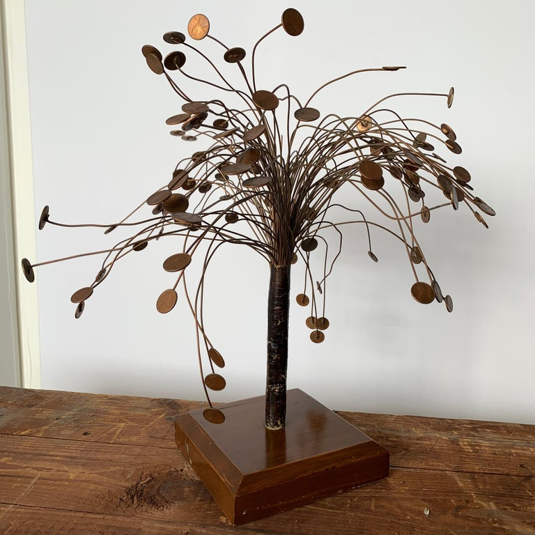 Decorative Midcentury Table Sculpture of 1970s Pennies Flower Stand For Sale 2