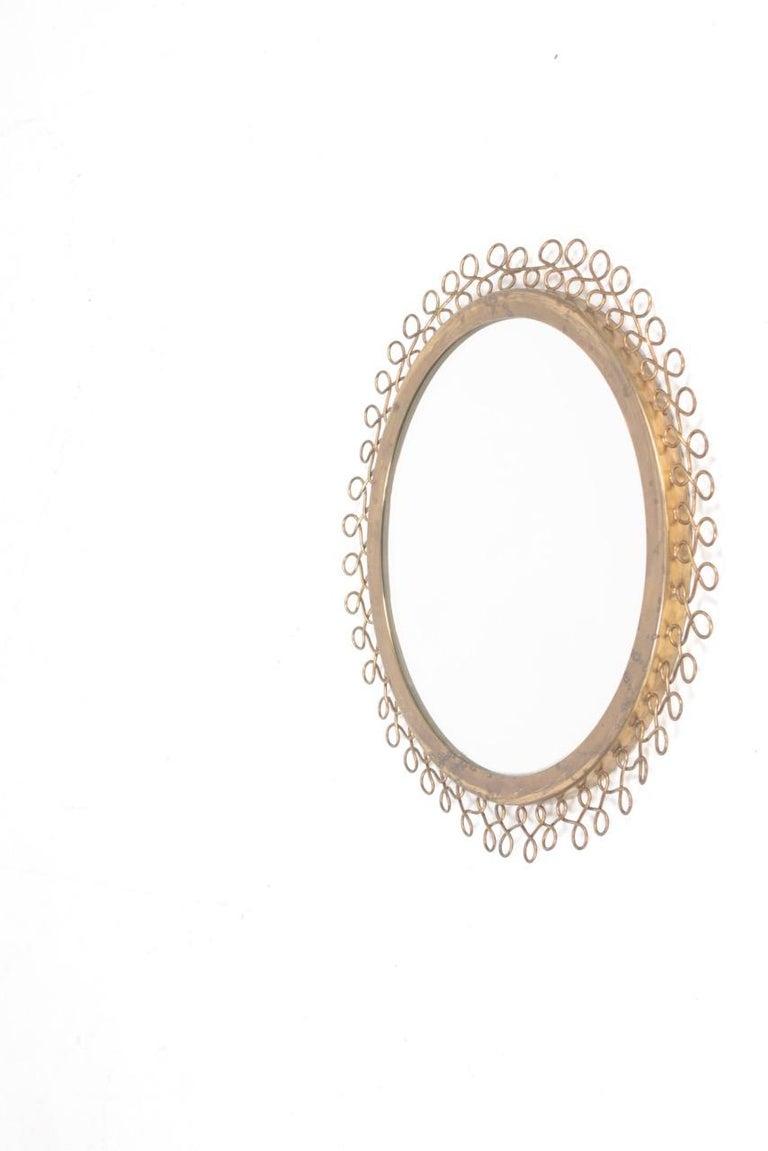 Scandinavian Modern Decorative Midcentury Wall Mirror in Brass, Made in Sweden, 1950s For Sale