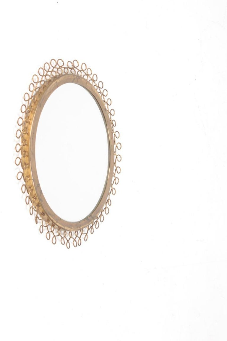 Swedish Decorative Midcentury Wall Mirror in Brass, Made in Sweden, 1950s For Sale