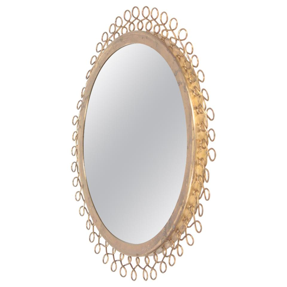 Decorative Midcentury Wall Mirror in Brass, Made in Sweden, 1950s
