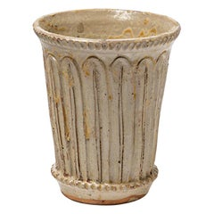 Decorative Midcentury White Ceramic Vase by Jean Lerat La Borne 1944 Art Deco