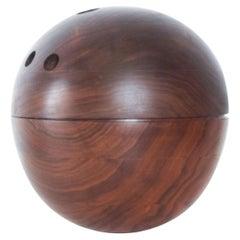 Decorative Modern Bowling Ball Secret Catch it All in Walnut Wood