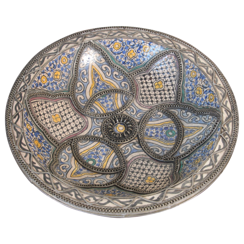 Decorative Moroccan Moorish Handcrafted Ceramic Bowl Dish from Fez