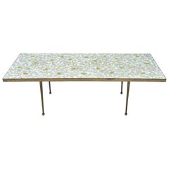 Decorative Mosaic Table with Brass Surround, 1950