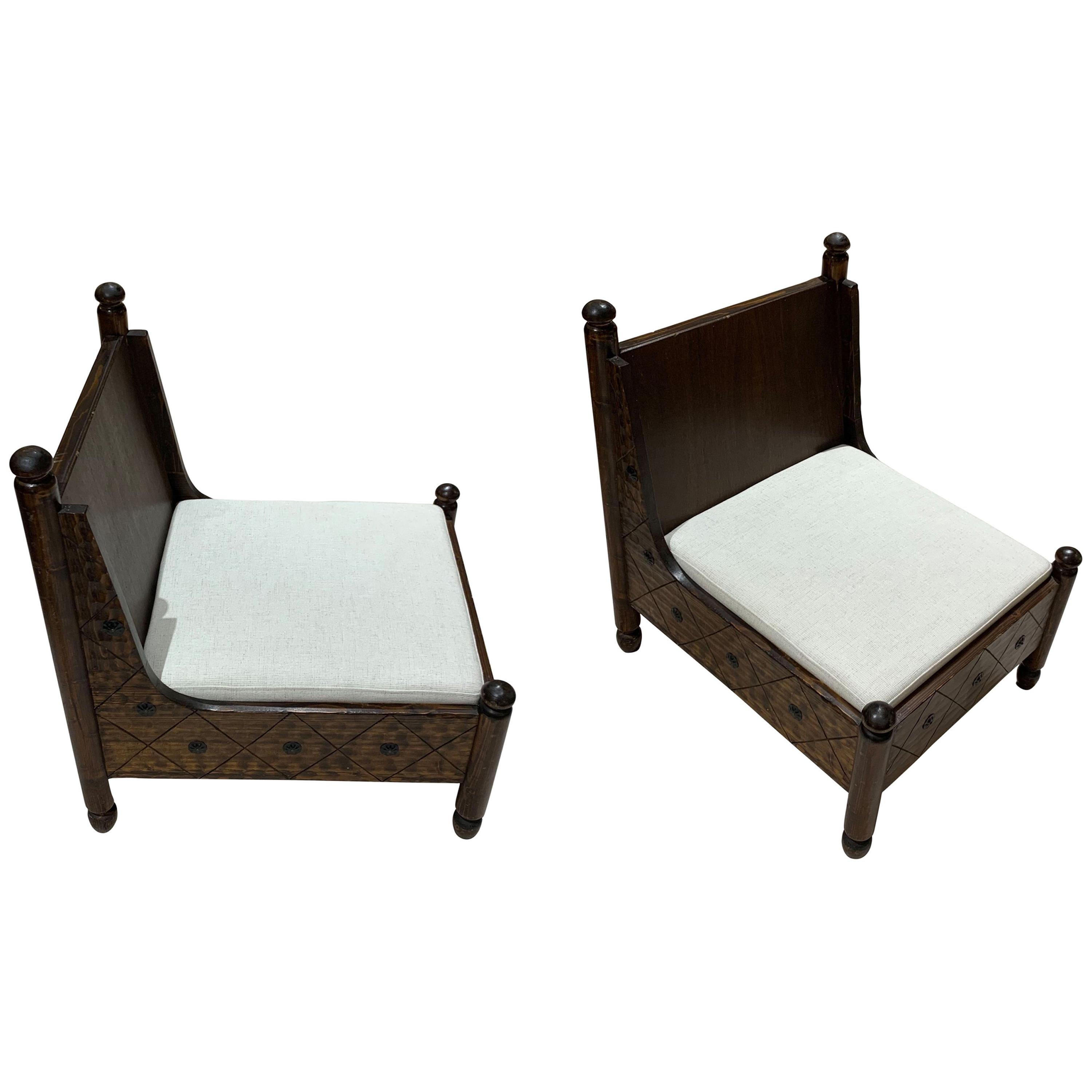 Italian Decorative Motif Pair of Oak Pull Up Side Chairs, 1960s