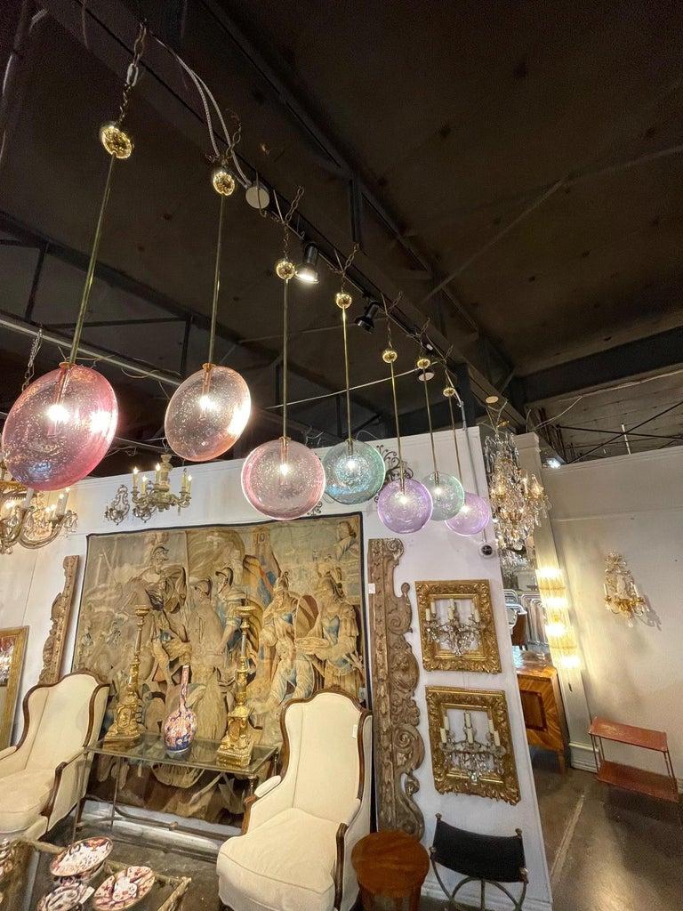 Decorative Murano Glass Disc Form Pendant Lights For Sale 5