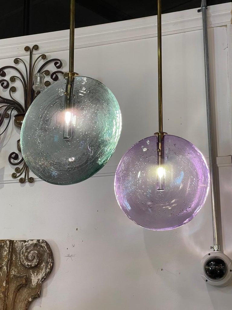 Decorative Murano Glass Disc Form Pendant Lights For Sale 1