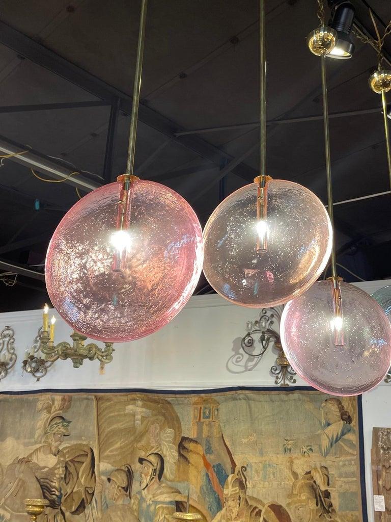 Decorative Murano Glass Disc Form Pendant Lights For Sale 2