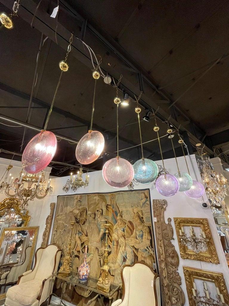 Decorative Murano Glass Disc Form Pendant Lights For Sale 3