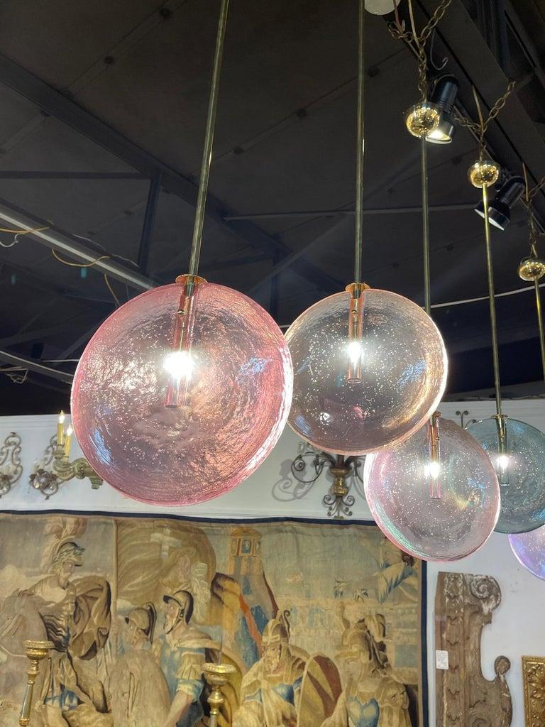 Decorative Murano Glass Disc Form Pendant Lights For Sale 4