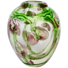 Decorative Murano Style Small Glass Vase with Pink and Green Flower Inclusions
