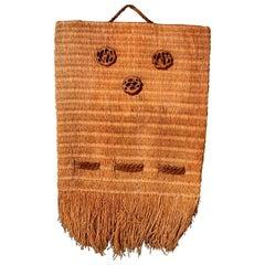 Decorative Native American Woven Wall Art Fringed Natural Fiber Hanging Bag