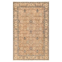Decorative Neutral Antique Room Size Persian Tabriz Rug. Size: 6 ft 4 in x 10 ft