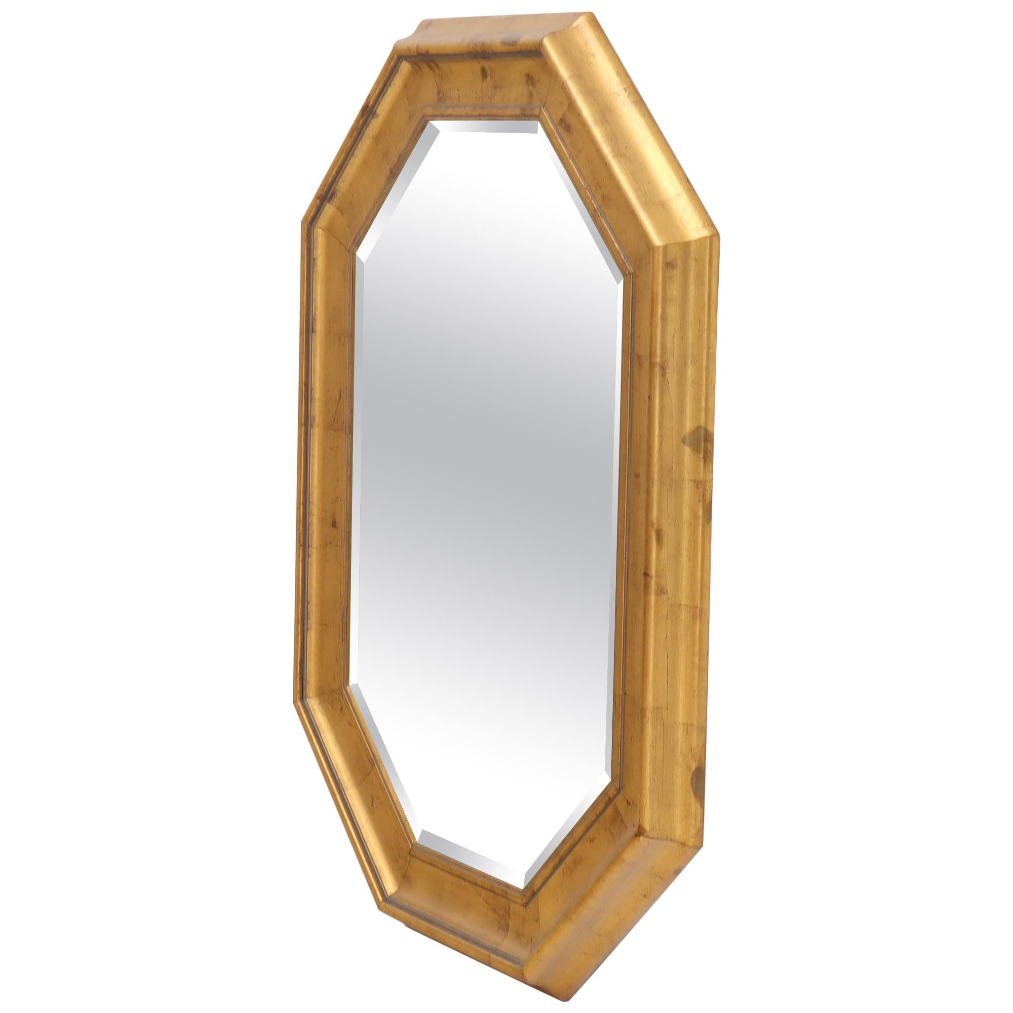 Decorative Octagon Gilt Frame Beveled Wall Mirror