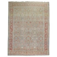 Decorative Oversize Gray Blue Persian Bibikabad Rug, Early 20th Century