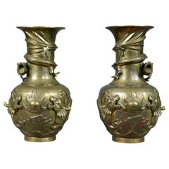 Decorative Pair of Chinese Vases in Bronze, Dragons, 20th Century Oriental Art