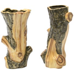 Decorative Pair of Faux Bois Vases Par Cérart, 1950s