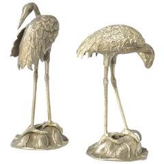 Decorative Pair of Nickel-Plated Brass Crane Bird Sculptures