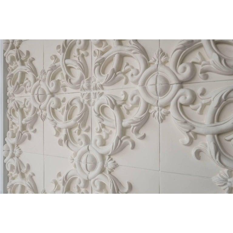 Italian Decorative Panel in Three-Dimensional Baroque Ceramic, Customizable, Acanto For Sale
