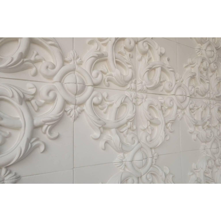 Painted Decorative Panel in Three-Dimensional Baroque Ceramic, Customizable, Acanto For Sale