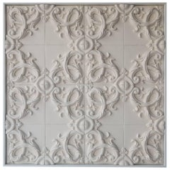 Decorative Panel in Three-Dimensional Baroque Ceramic, Customizable, Acanto