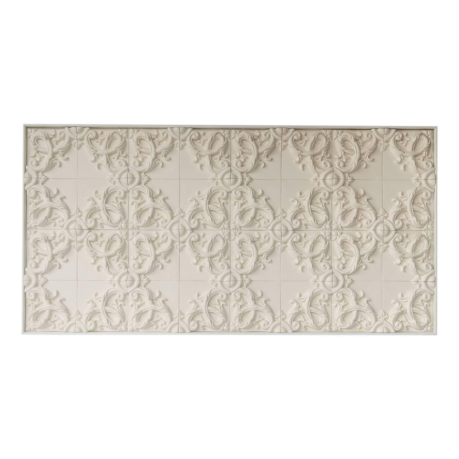 Decorative Panel in Three-Dimensional Baroque Ceramic, Customizable, Acanto