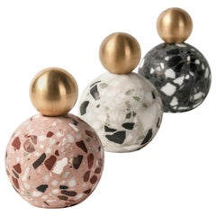 Decorative Paperweights '8' in Black / White / Red Terrazzo